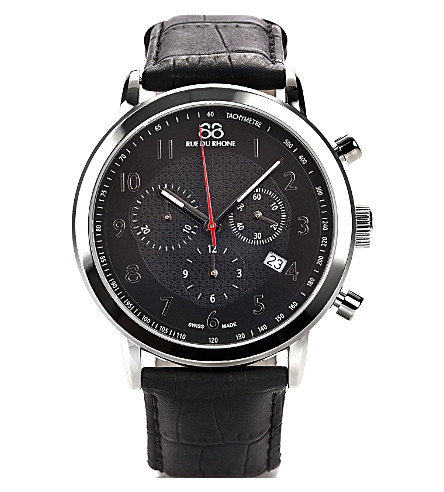 88 RUE DU RHONE 87WA120047 stainless steel and leather chronograph watch (Black