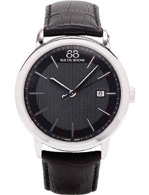 88 RUE DU RHONE Stainless steel and leather strap watch
