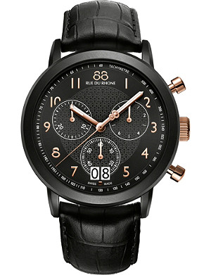 88 RUE DU RHONE Stainless steel and leather watch