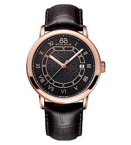 88 RUE DU RHONE 87WA144205 Double 8 Origin rose gold-plated and leather watch