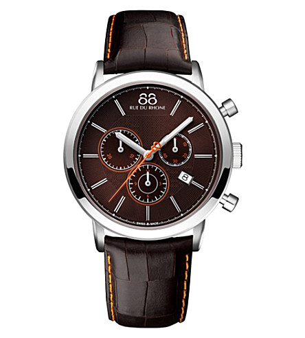 88 RUE DU RHONE 87WA154211 Double 8 Origin stainless steel and leather watch
