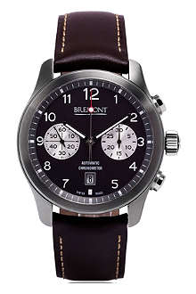 BREMONT ALT1CAN07 ALT1-C stainless steel and leather chronograph watch