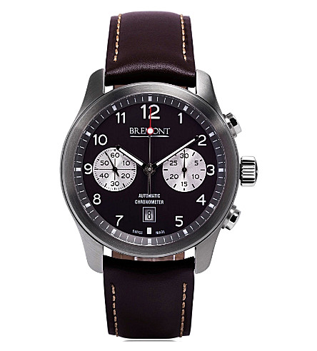 BREMONT ALT1CAN07 ALT1-C stainless steel and leather chronograph watch (Steel