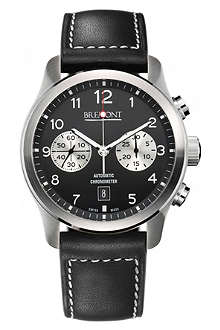 BREMONT ALT1CBK07 stainless steel and leather chronograph watch