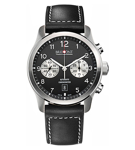BREMONT ALT1CBK07 stainless steel and leather chronograph watch (Steel