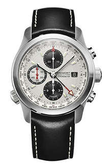 BREMONT ALT1-WT World Timer stainelss steel and leather chronograph watch
