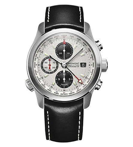 BREMONT ALT1-WT World Timer stainelss steel and leather chronograph watch (Steel