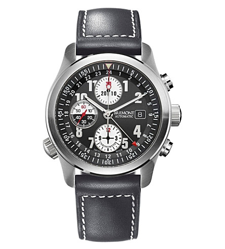BREMONT ALT1ZDG07 stainless steel and leather chronograph watch (Steel