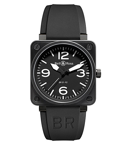 BELL & ROSS BR0192-10th-ce ceramic and rubber watch