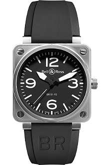 BELL & ROSS BR0192 steel and leather watch