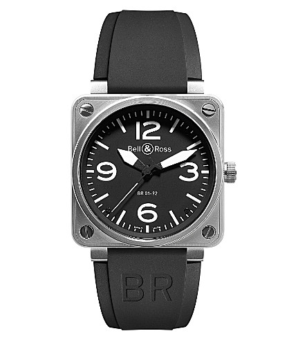 BELL & ROSS BR0192 steel and leather watch (Black