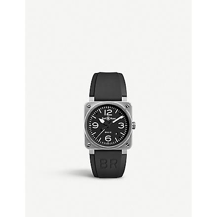 BELL & ROSS BR0392BLST stainless steel and rubber strap (Black