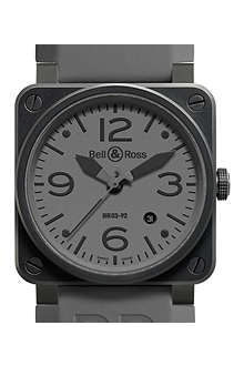 BELL & ROSS Black dial stainless steel and rubber watch