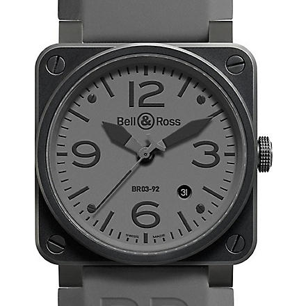 BELL & ROSS Black dial stainless steel and rubber watch (Black
