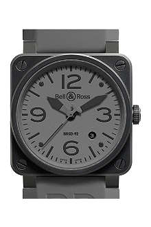 BELL & ROSS BR0392COMMANDO stainless steel and rubber watch