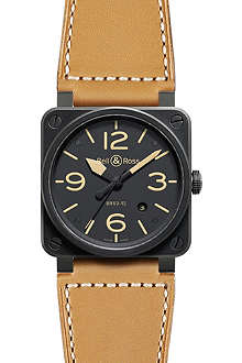 BELL & ROSS BR0392 Aviation black PVD-coated and leather watch