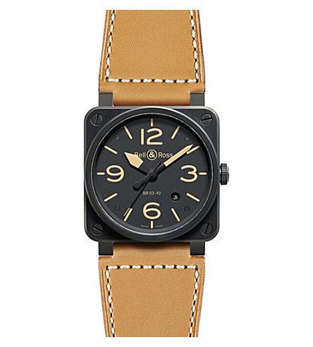 BELL & ROSS BR0392 Aviation black PVD-coated and leather watch (Beige