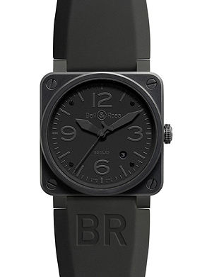 BELL & ROSS BR0392 Aviation black PVD coated and rubber watch