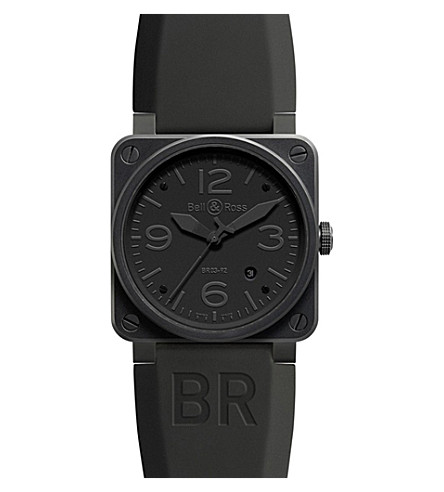 BELL & ROSS BR0392 Aviation black PVD coated and rubber watch (Black