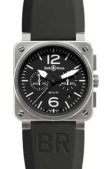 BELL & ROSS BR0394BLST stainless steel and rubber watch