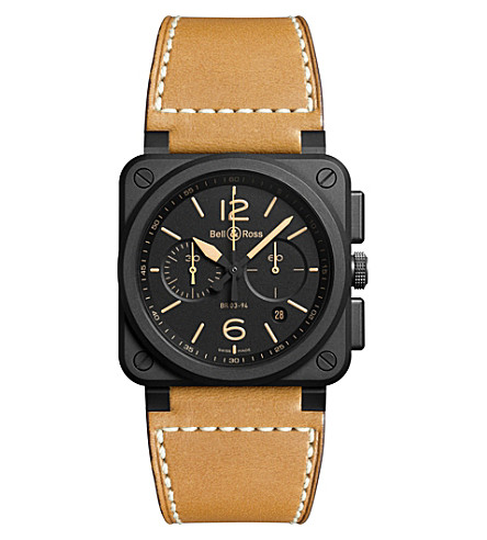 BELL & ROSS BR0394HERICE Heritage ceramic and leather watch