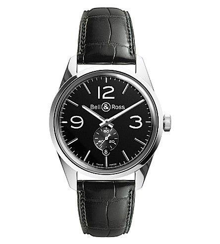 BELL & ROSS BR123BLACK Vintage Original satin steel and leather watch (Black