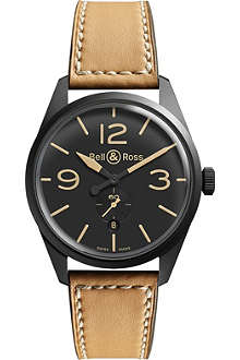 BELL & ROSS BR123CARBON Vintage Original satin steel and leather watch