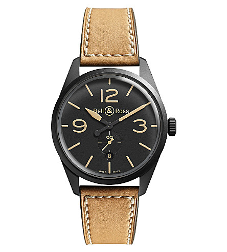 BELL & ROSS BR123CARBON Vintage Original satin steel and leather watch (Beige