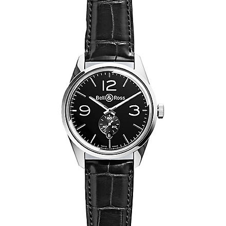 BELL & ROSS BR123OFFICERBLACK Vintage Original satin steel and leather watch (Black