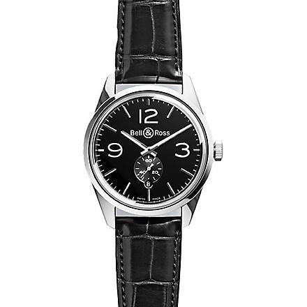 BELL & ROSS BR123OFFICERBLACK Vintage Original satin steel and leather watch (Black