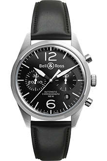 BELL & ROSS BR126 Vintage Original satin steel and leather chronograph watch
