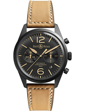BELL & ROSS BR126 Heritage black PVD coated and leather chronograph watch