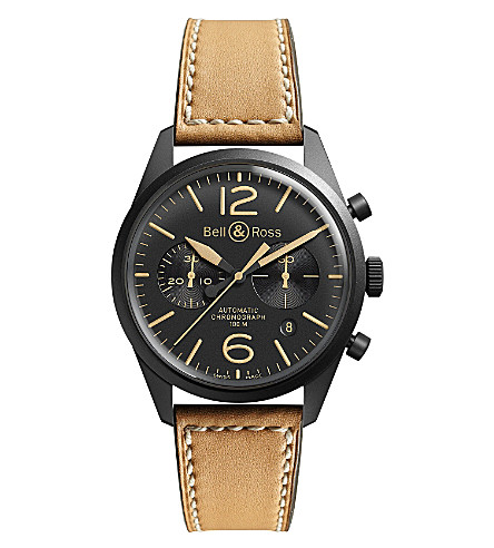 BELL & ROSS BR126 Heritage black PVD coated and leather chronograph watch (Beige