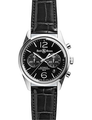 BELL & ROSS BRG126-bl-st/scr stainless steel and leather watch