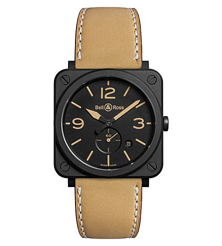 BELL & ROSS BRS Heritage Aviation ceramic and leather watch