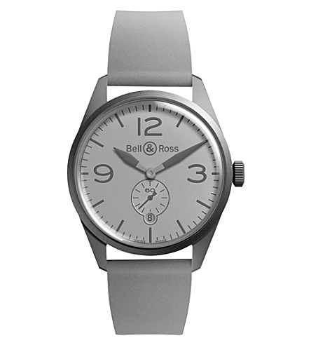 BELL & ROSS BR-123 幻影 PVD 和橡胶手表 (灰色