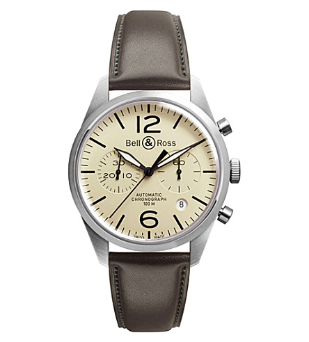BELL & ROSS Vintage original satin steel and leather chronograph watch (Beige