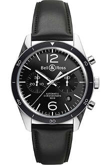 BELL & ROSS BRV126BLBESCA Vintage Original satin steel and leather chronograph