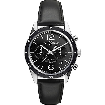 BELL & ROSS BRV126BLBESCA Vintage Original satin steel and leather chronograph (Black