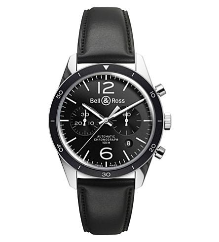 BELL & ROSS BRV126BLBESCA Vintage Original satin steel and leather chronograph (Black