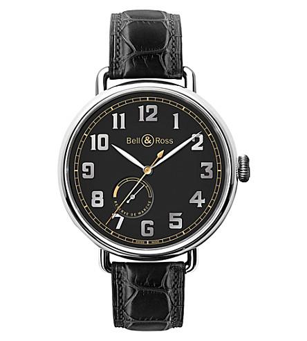 BELL & ROSS BRWW197HERSTSCR 复古 WW1 不锈钢皮表带腕表