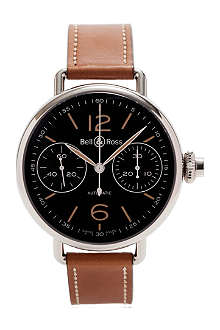 BELL & ROSS WW1 Monopoussoir Heritage steel and leather watch
