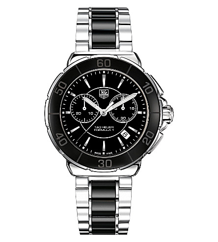 TAG HEUER Formula 1 steel & ceramic chronograph watch 41mm (Ceramic-+black
