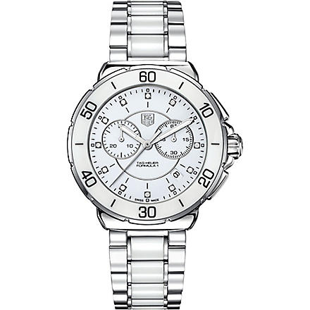TAG HEUER Formula 1 steel, ceramic & diamonds chronograph watch (Ceramic- white