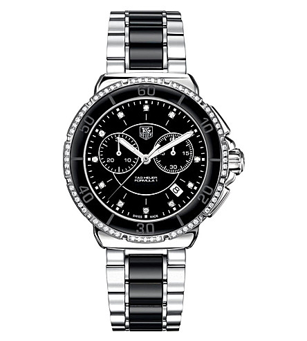 TAG HEUER Formula 1 steel, ceramic & diamonds chronograph watch 41mm (Ceramic-+black