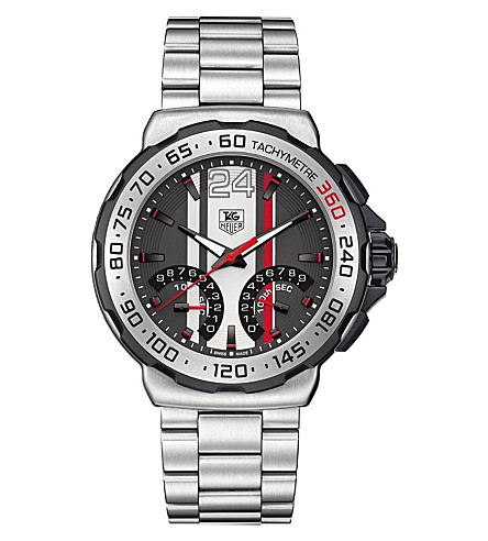 TAG HEUER Formula 1 calibre S 1/100th sec electro-mechanical chronograph watch 44mm (Steel