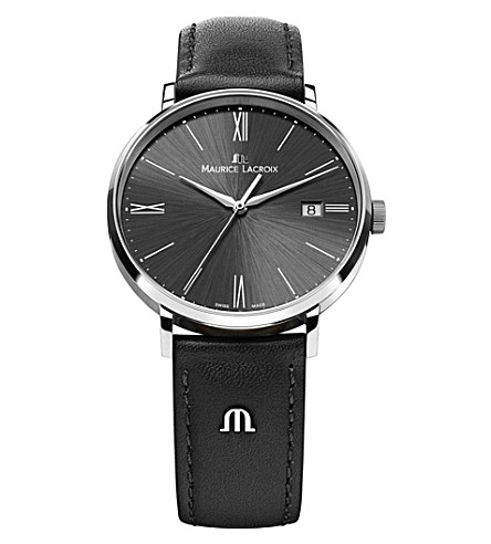 MAURICE LACROIX 1087-ss001-310 stainless steel and leather watch