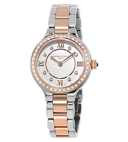 FREDERIQUE CONSTANT FC200WHD1ERD32B rose gold, stainless steel and diamond watch (White