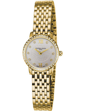 FREDERIQUE CONSTANT FC200WHDSD5B Slimline Mini yellow gold-plated stainless steel and diamond bezel watch