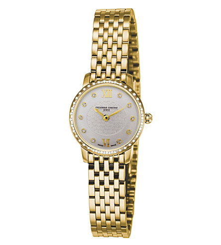 FREDERIQUE CONSTANT FC200WHDSD5B Slimline Mini gold-plated stainless steel and diamond bezel watch